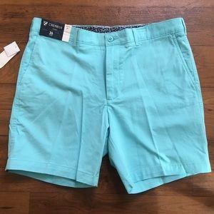 "Cremieux Soft Teal Soho Slim Fit Golf 7"" Shorts 35"